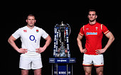 Dylan Hartley captain of England poses with Sam Warburton captain of Wales and the trophy during the RBS Six Nations launch at The Hurlingham Club on...
