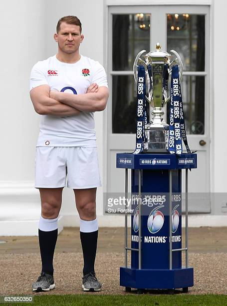 Dylan Hartley Captain of England poses with the Six Nations Trophy during the 2017 RBS Six Nations launch at The Hurlingham Club on January 25 2017...