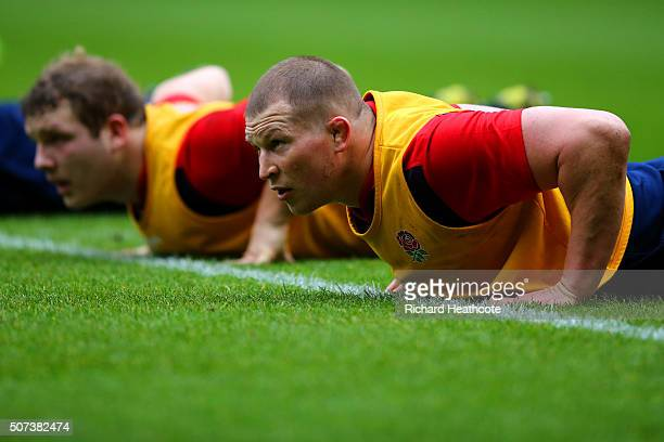 Dylan Hartley captain of England takes part in an England Rugby open training session at Twickenham Stadium on January 29 2016 in London England