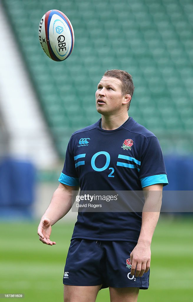 <a gi-track='captionPersonalityLinkClicked' href=/galleries/search?phrase=Dylan+Hartley&family=editorial&specificpeople=764177 ng-click='$event.stopPropagation()'>Dylan Hartley</a> catches the ball during the England captain's run at Twickenham Stadium on November 8, 2013 in London, England.