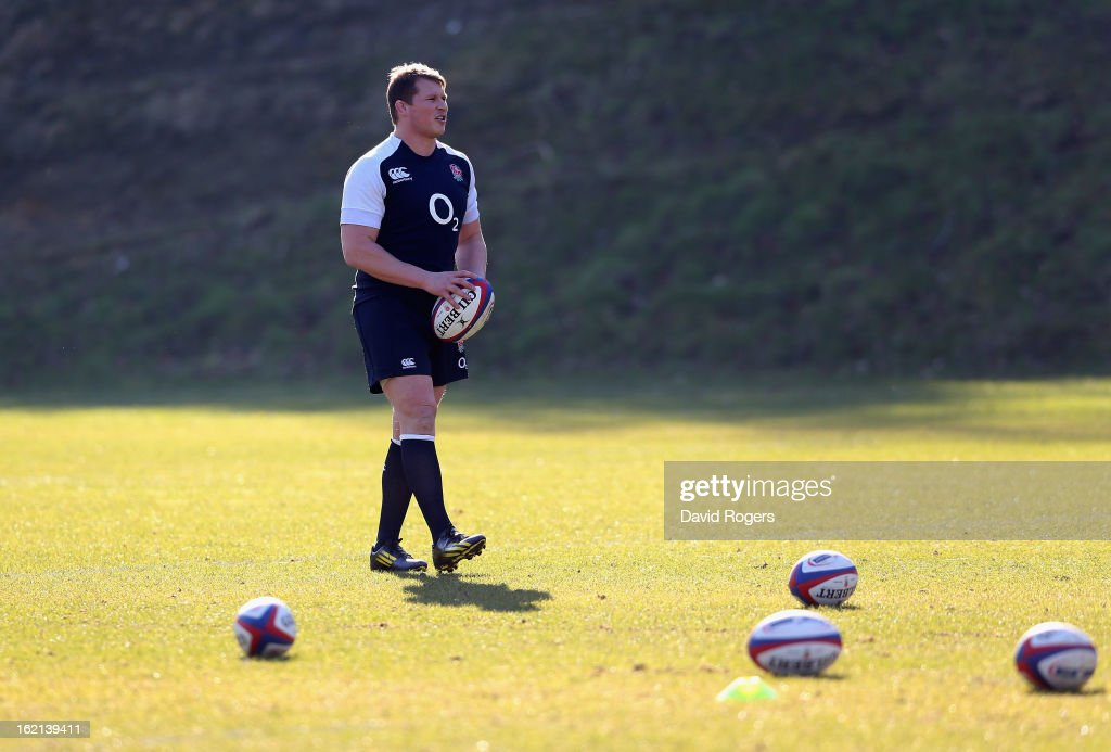 Dylan Hartley looks on during the England training session held at Pennyhill Park on February 19, 2013 in Bagshot, England.
