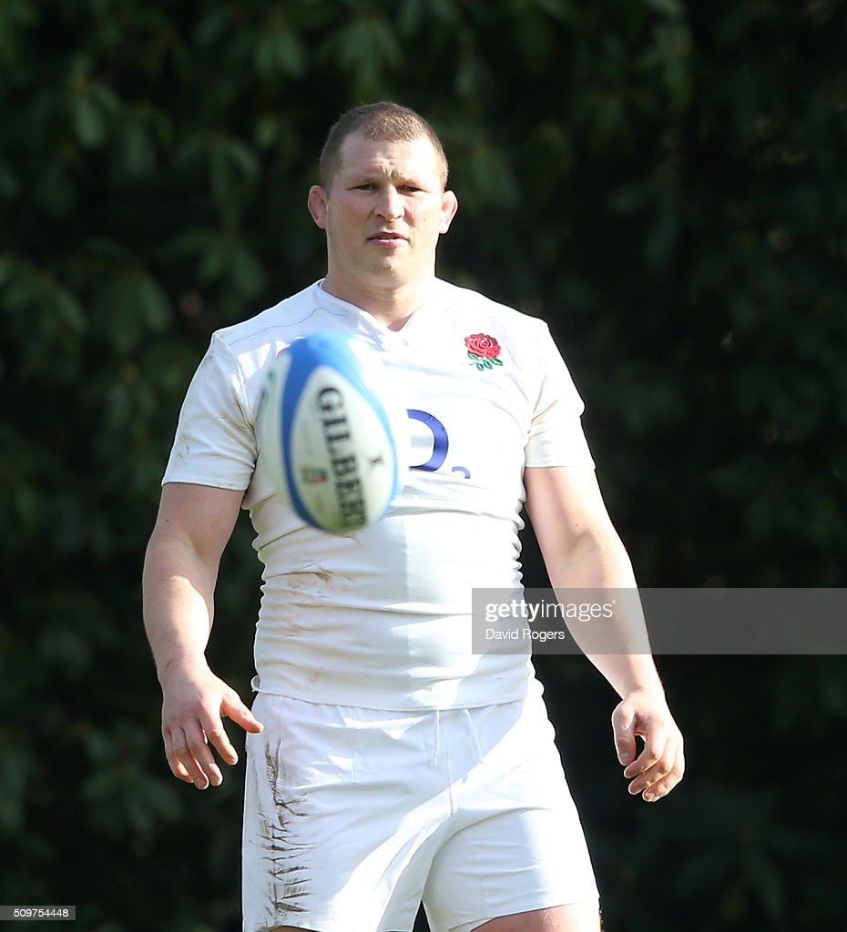 <a gi-track='captionPersonalityLinkClicked' href=/galleries/search?phrase=Dylan+Hartley&family=editorial&specificpeople=764177 ng-click='$event.stopPropagation()'>Dylan Hartley</a> looks on during the England training session held at Pennyhill Park on February 12, 2016 in Bagshot, England.