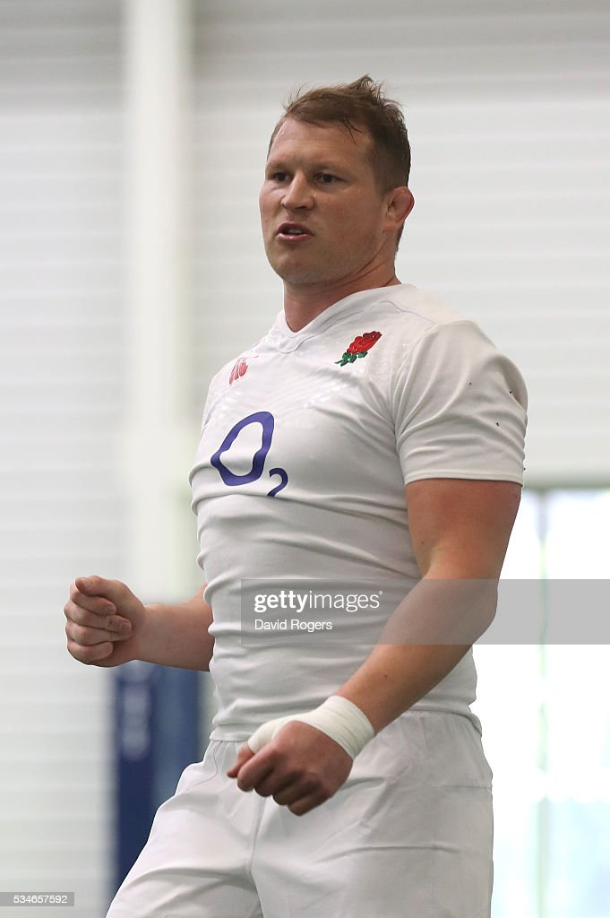 <a gi-track='captionPersonalityLinkClicked' href=/galleries/search?phrase=Dylan+Hartley&family=editorial&specificpeople=764177 ng-click='$event.stopPropagation()'>Dylan Hartley</a> looks on during the England training session held at Pennyhill Park on May 27, 2016 in Bagshot, England.