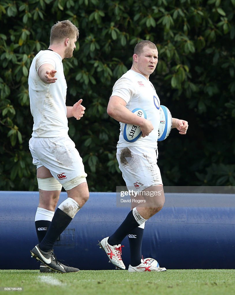 <a gi-track='captionPersonalityLinkClicked' href=/galleries/search?phrase=Dylan+Hartley&family=editorial&specificpeople=764177 ng-click='$event.stopPropagation()'>Dylan Hartley</a> (R) looks with team mate <a gi-track='captionPersonalityLinkClicked' href=/galleries/search?phrase=George+Kruis&family=editorial&specificpeople=6179640 ng-click='$event.stopPropagation()'>George Kruis</a> during the England training session held at Pennyhill Park on February 12, 2016 in Bagshot, England.