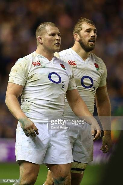 Dylan Hartley of England and Chris Robshaw of England look on during the RBS Six Nations match between Scotland and England at Murrayfield Stadium on...