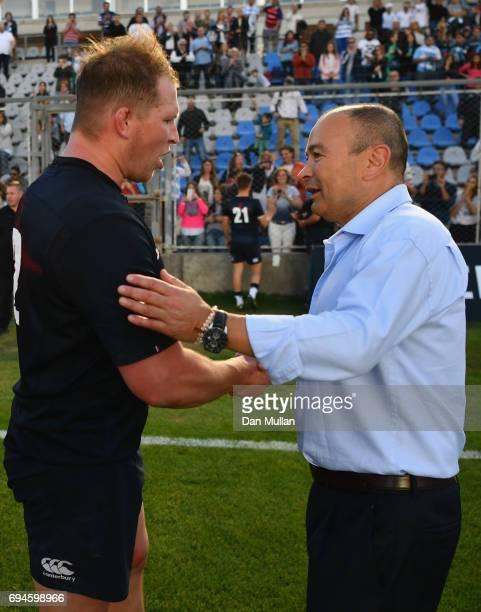 Dylan Hartley of England and Eddie Jones head coach of England speak after the International Test match between Argentina and England at Estadio San...