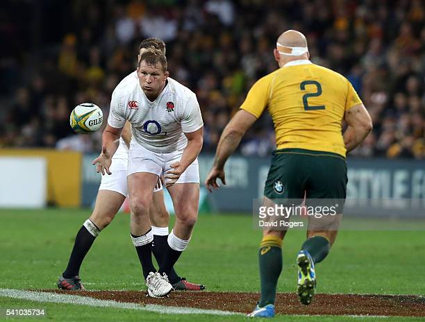 Dylan Hartley of England catches the ball during the International Test match between the Australian Wallabies and England at AAMI Park on June 18...