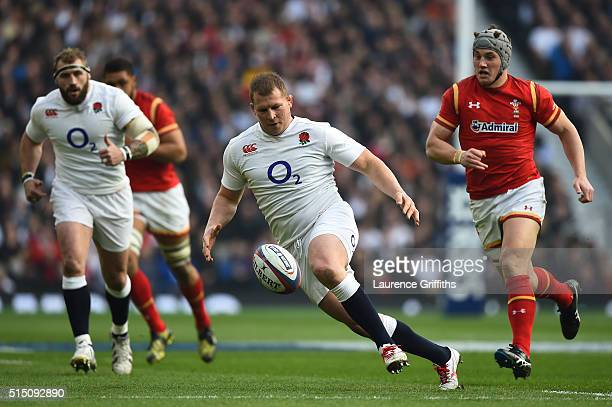 Dylan Hartley of England falls on the loose ball during the RBS Six Nations match between England and Wales at Twickenham Stadium on March 12 2016 in...