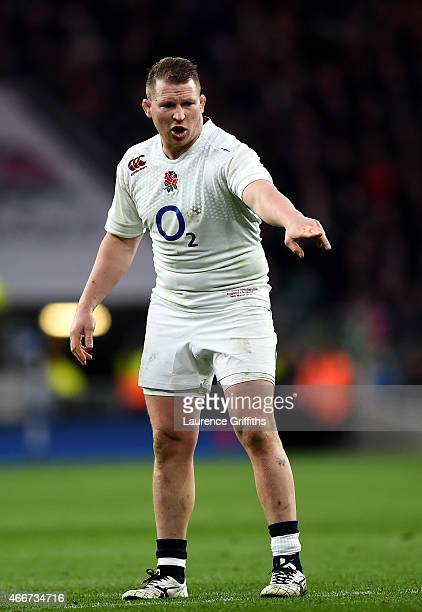 Dylan Hartley of England gestures during the RBS Six Nations match between England and Scotland at Twickenham Stadium on March 14 2015 in London...