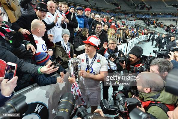 Dylan Hartley of England holds the RBS Six Nations trophy after England won the Grand Slam during the RBS Six Nations match between France and...