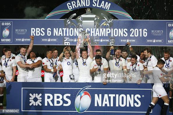Dylan Hartley of England lifts the RBS Six Nations trophy after England won the Grand Slam during the RBS Six Nations match between France and...