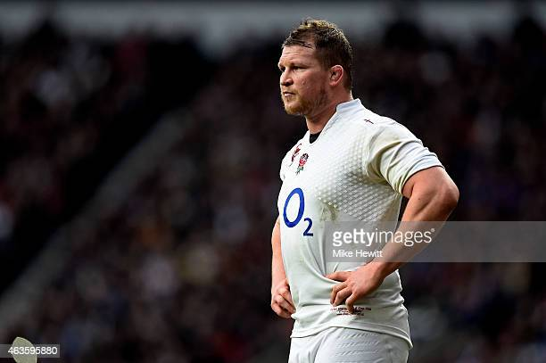 Dylan Hartley of England looks on during the RBS Six Nations match between England and Italy at Twickenham Stadium on February 14 2015 in London...