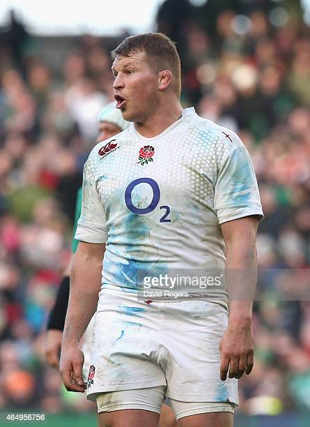 Dylan Hartley of England looks on during the RBS Six Nations match between Ireland and England at the Aviva Stadium on March 1 2015 in Dublin Ireland