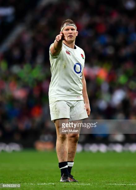 Dylan Hartley of England looks on during the RBS Six Nations match between England and Italy at Twickenham Stadium on February 26 2017 in London...