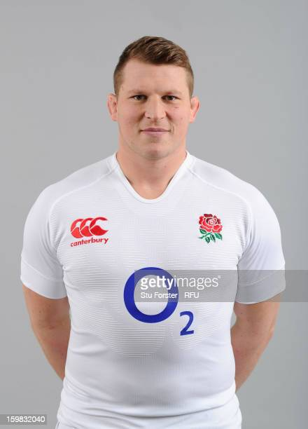 Dylan Hartley of England poses for a portrait during the England rugby union squad photo call at Weetwood Hall on January 21 2013 in Leeds England