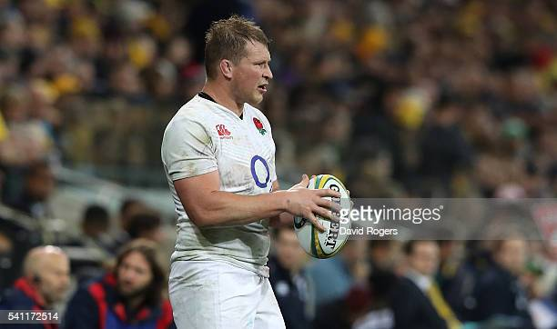 Dylan Hartley of England prepares to throw the ball during the International Test match between the Australian Wallabies and England at AAMI Park on...