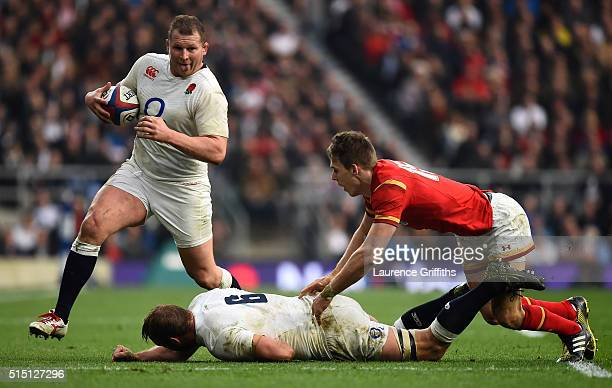 Dylan Hartley of England receives an offload from Chris Robshaw of England during the RBS Six Nations match between England and Wales at Twickenham...