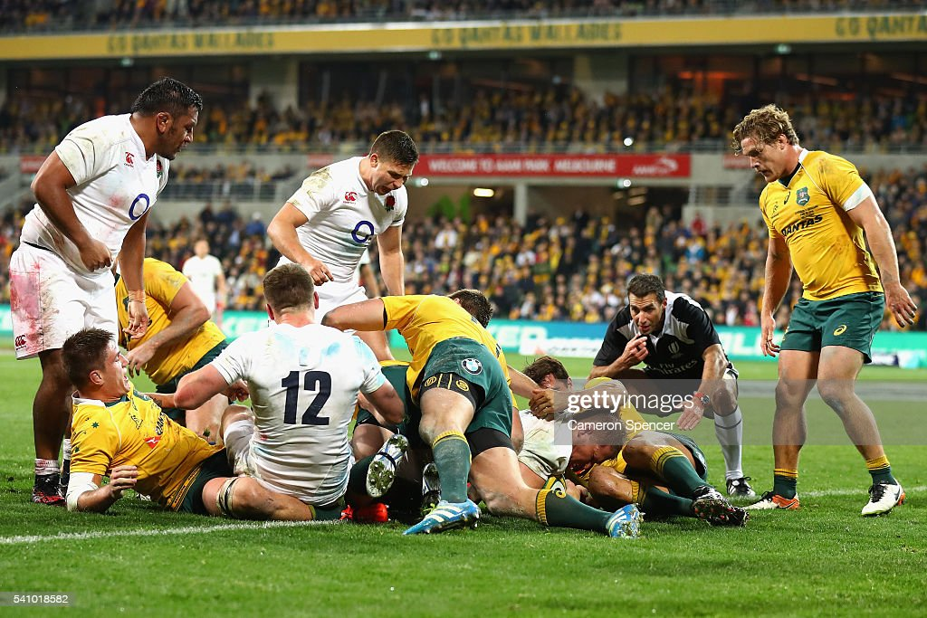 <a gi-track='captionPersonalityLinkClicked' href=/galleries/search?phrase=Dylan+Hartley&family=editorial&specificpeople=764177 ng-click='$event.stopPropagation()'>Dylan Hartley</a> of England scores a try during the International Test match between the Australian Wallabies and England at AAMI Park on June 18, 2016 in Melbourne, Australia.