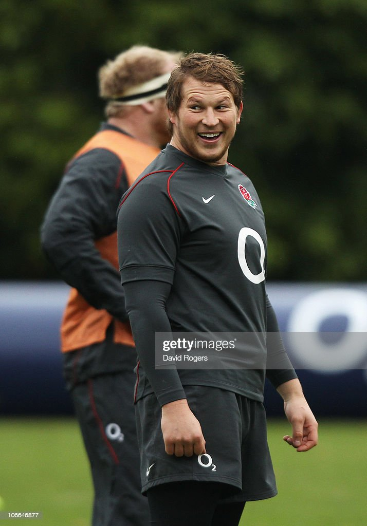 <a gi-track='captionPersonalityLinkClicked' href=/galleries/search?phrase=Dylan+Hartley&family=editorial&specificpeople=764177 ng-click='$event.stopPropagation()'>Dylan Hartley</a> of England smiles during an England Rugby Union training session at the Pennyhill Park Hotel on November 9, 2010 in Bagshot, England.
