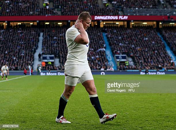 Dylan Hartley of England walks to the sin bin after being shown a yellow card during the QBE Intenational match between England and South Africa at...