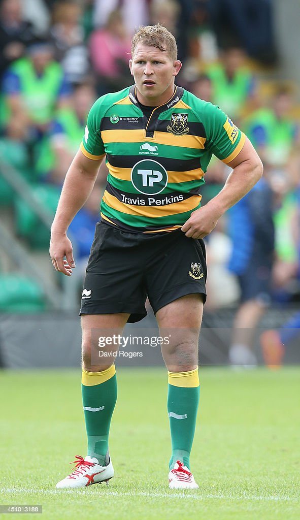 Dylan Hartley of Northampton looks on during the pre season friendly match between Northampton Saints and Leinster at Franklin's Gardens on August 23, 2014 in Northampton, England.
