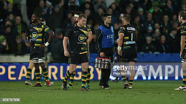 Dylan Hartley of Northampton Saints walks from the pitch after being shown a red card during the European Rugby Champions Cup match between...