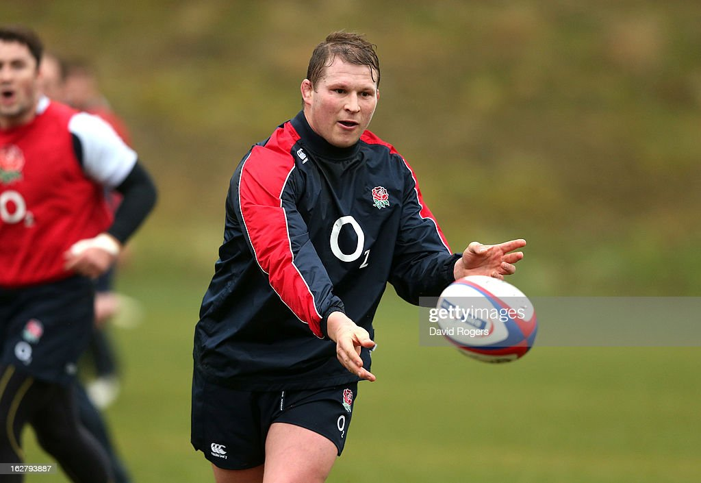 Dylan Hartley passes the ball during the England training session held at Pennyhill Park on February 26, 2013 in Bagshot, England.