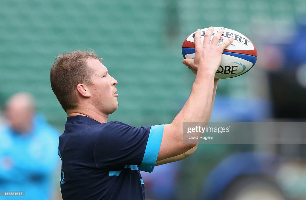 <a gi-track='captionPersonalityLinkClicked' href=/galleries/search?phrase=Dylan+Hartley&family=editorial&specificpeople=764177 ng-click='$event.stopPropagation()'>Dylan Hartley</a> prepares to throw the ball during the England captain's run at Twickenham Stadium on November 8, 2013 in London, England.