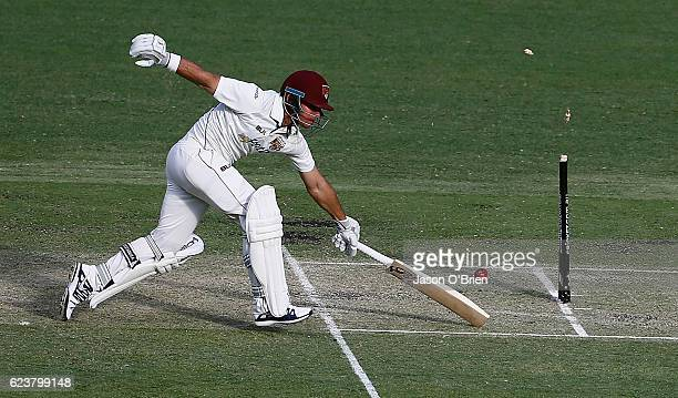 Dylan Hartley survives a run out during day one of the Sheffield Shield match between Queensland and South Australia at The Gabba on November 17 2016...