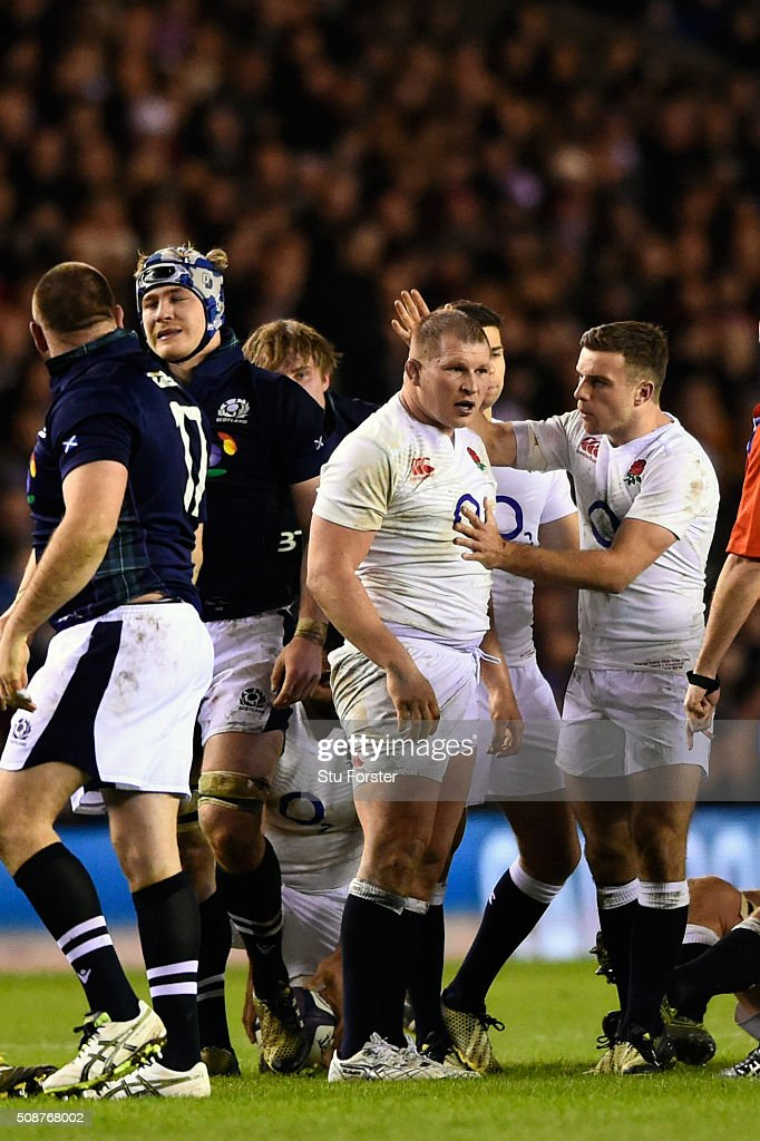 <a gi-track='captionPersonalityLinkClicked' href=/galleries/search?phrase=Dylan+Hartley&family=editorial&specificpeople=764177 ng-click='$event.stopPropagation()'>Dylan Hartley</a> the England captain congratulated by teammate <a gi-track='captionPersonalityLinkClicked' href=/galleries/search?phrase=George+Ford+-+Rugby+Union+Player&family=editorial&specificpeople=11374128 ng-click='$event.stopPropagation()'>George Ford</a> after the forwards win a penalty at a scrummage during the RBS Six Nations match between Scotland and England at Murrayfield Stadium on February 6, 2016 in Edinburgh, Scotland.