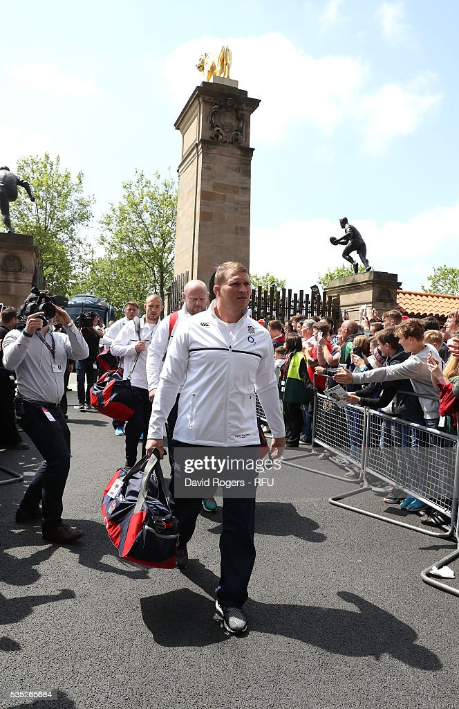<a gi-track='captionPersonalityLinkClicked' href=/galleries/search?phrase=Dylan+Hartley&family=editorial&specificpeople=764177 ng-click='$event.stopPropagation()'>Dylan Hartley</a>, the England captain leads his team into the stadium during the England v Wales International match at Twickenham Stadium on May 29, 2016 in London, England.