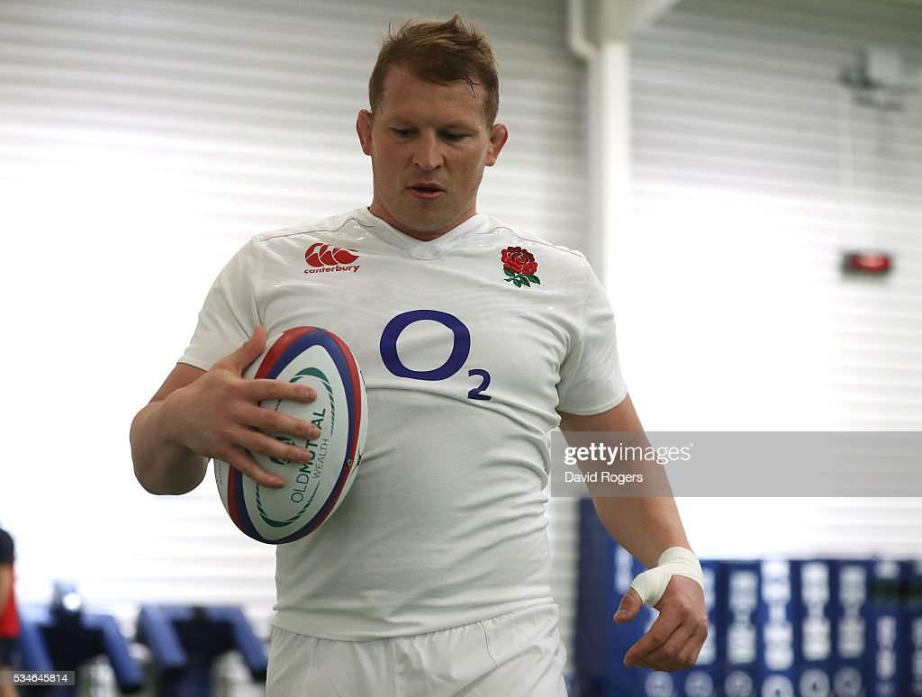 <a gi-track='captionPersonalityLinkClicked' href=/galleries/search?phrase=Dylan+Hartley&family=editorial&specificpeople=764177 ng-click='$event.stopPropagation()'>Dylan Hartley</a>, the England captain, looks on during the England training session held at Pennyhill Park on May 27, 2016 in Bagshot, England.