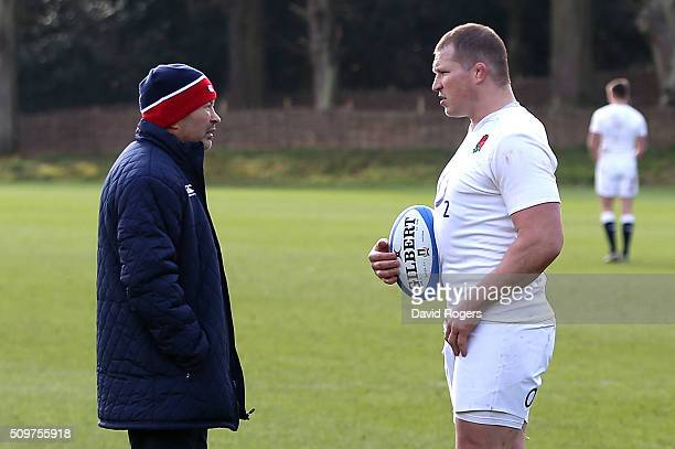 Dylan Hartley the England captain talks to head coach Eddie Jones during the England training session held at Pennyhill Park on February 12 2016 in...