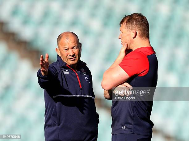 Dylan Hartley the England captain talks to head coach Eddie Jones duirng the England captain's run at Allianz Stadium on June 24 2016 in Sydney...