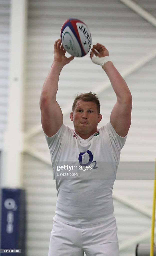 <a gi-track='captionPersonalityLinkClicked' href=/galleries/search?phrase=Dylan+Hartley&family=editorial&specificpeople=764177 ng-click='$event.stopPropagation()'>Dylan Hartley</a>, the England captain, throws the ball during the England training session held at Pennyhill Park on May 27, 2016 in Bagshot, England.