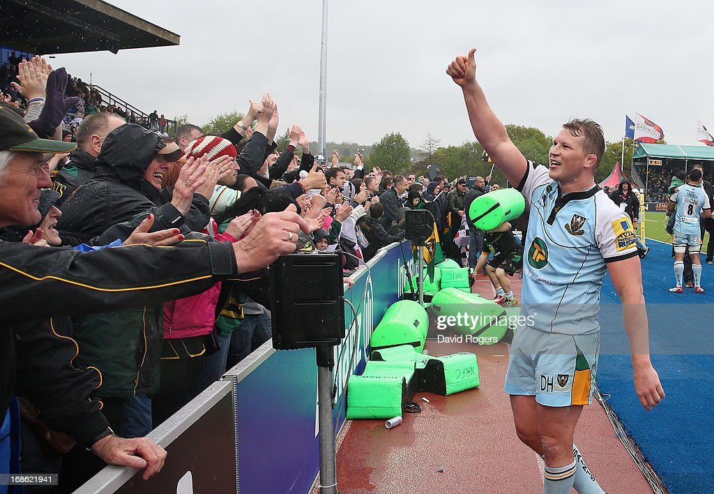 <a gi-track='captionPersonalityLinkClicked' href=/galleries/search?phrase=Dylan+Hartley&family=editorial&specificpeople=764177 ng-click='$event.stopPropagation()'>Dylan Hartley</a>, the Northampton captain, celebrates after his teams victory during the Aviva Premiership semi final match between Saracens and Northampton Saints at Allianz Park on May 12, 2013 in Barnet, England.