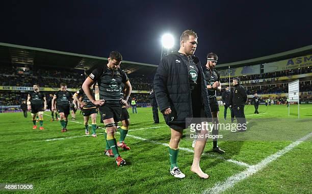 Dylan Hartley the Northampton captain leads his team off the pitch after their 375 defeat during the European Rugby Champions Cup quarter final match...