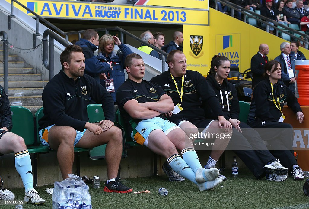 Dylan Hartley, the Northampton captain sits on the bench after being sent off during the Aviva Premiership Final between Leicester Tigers and Northampton Saints at Twickenham Stadium on May 25, 2013 in London, England.