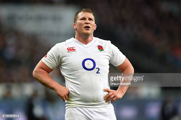 Dylan Hartleyl of England looks on during the RBS Six Nations match between France and England at the Stade de France on March 19 2016 in Paris France