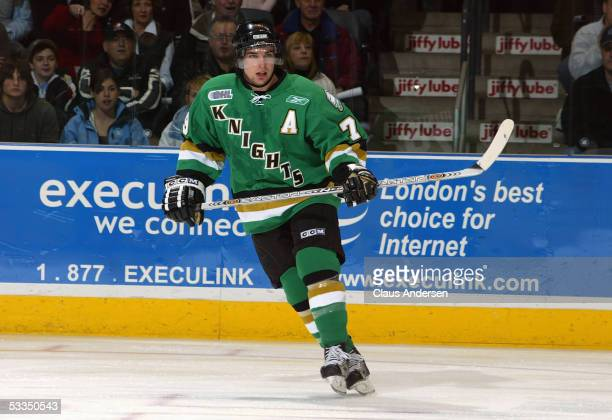 Dylan Hunter of the London Knights skates against the Sarnia Sting during a Ontario Hockey League game at John Labatt Centre on January 1 2005 in...