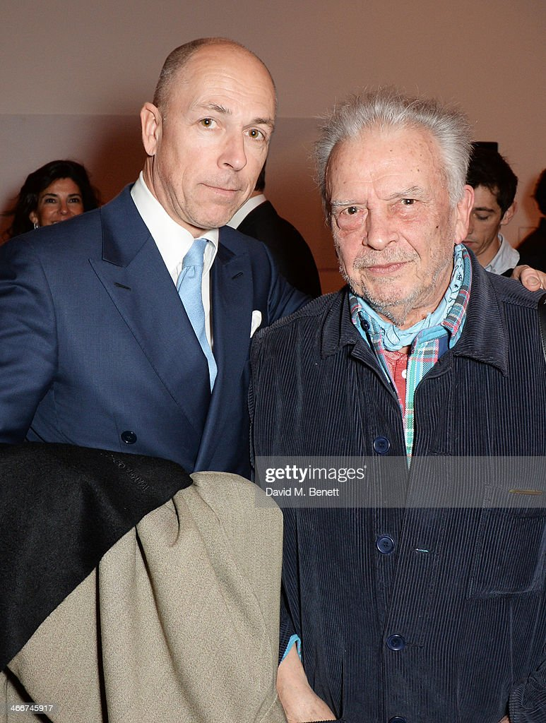 Dylan Jones and David Bailey attend a private view of Bailey's Stardust a exhibition of images by David Bailey supported by Hugo Boss at the National...
