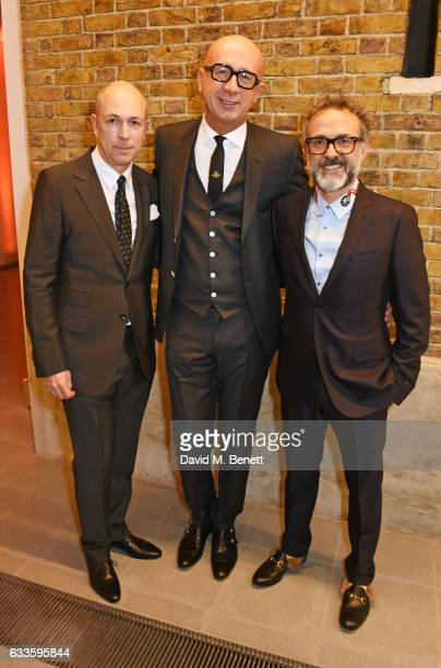 Dylan Jones Marco Bizzarri and Massimo Bottura attend as Dylan Jones and Marco Bizzarri host a cocktail party to launch new film series 'The...
