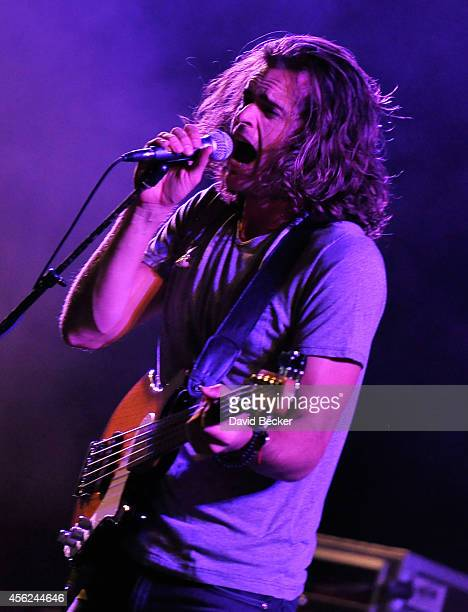 Dylan Kongos of Kongos performs as the band opens for Kings of Leon during the Mechanical Bull tour at the MGM Resorts Village on September 27 2014...