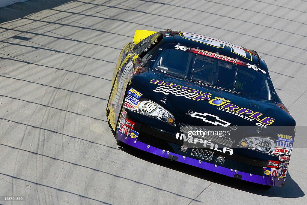 Dylan Kwasniewski, driver of the #98 Royal Purple /Rockstar Energy Drink Chevrolet, practices on track for the NASCAR K&N Pro Series East DRIVE4COPD 125 at Bristol Motor Speedway on March 14, 2013 in Bristol, Tennessee.