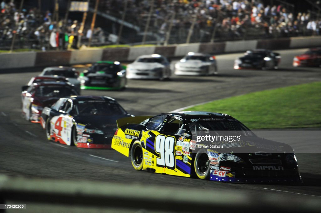 Dylan Kwasniewski #98 leads the pack early in the NASCAR K&N Pro Series, East NAPA 150 on July 13, 2013 at Columbus Motor Speedway in Columbus, Ohio.