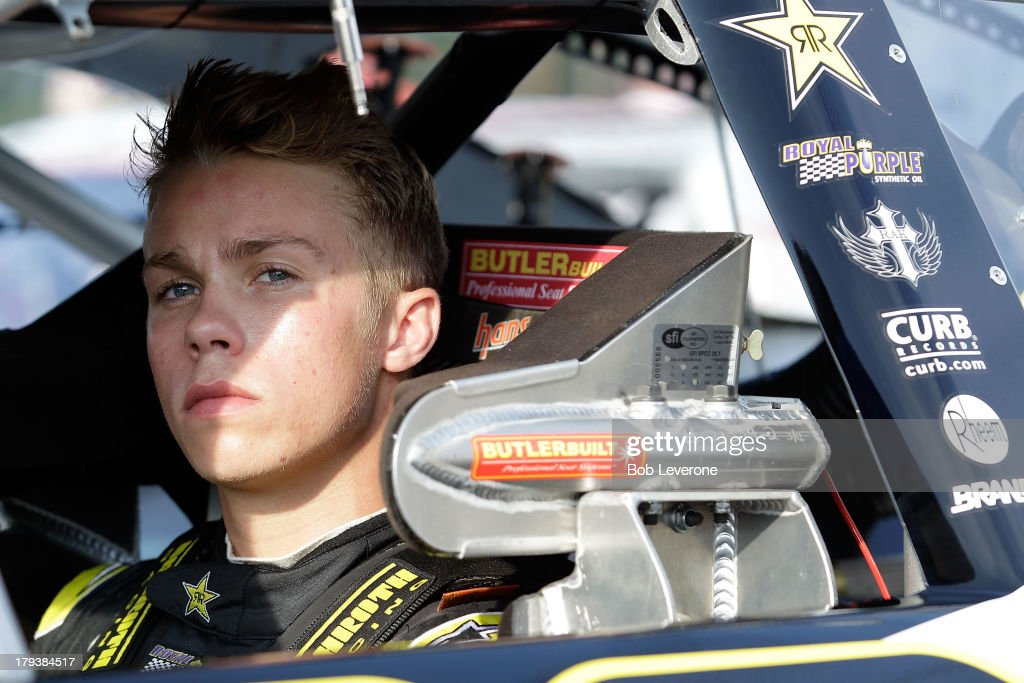 Dylan Kwasniewski waits to hear the call to start his engine at Greenville Pickens Speedway on September 2, 2013 in Greenville, South Carolina.