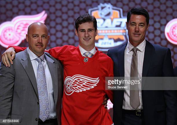 Dylan Larkin is selected fifteenth overall by the Detroit Red Wings in the first round of the 2014 NHL Draft at the Wells Fargo Center on June 27...