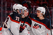 Dylan Larkin of Team United States celebrates his goal with teammates during the 2015 IIHF World Junior Hockey Championship game against Team Germany...