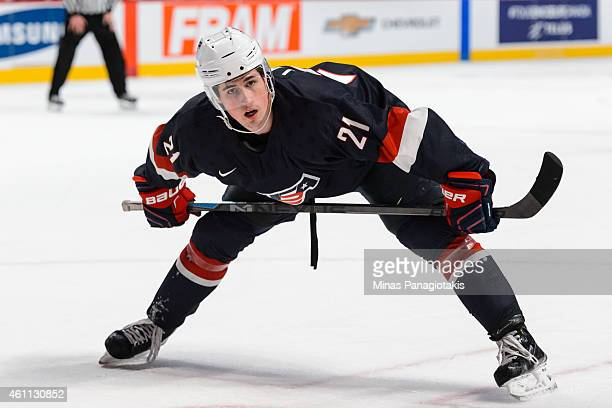 Dylan Larkin of Team United States prepares for a faceoff in a quarterfinal round during the 2015 IIHF World Junior Hockey Championships against Team...