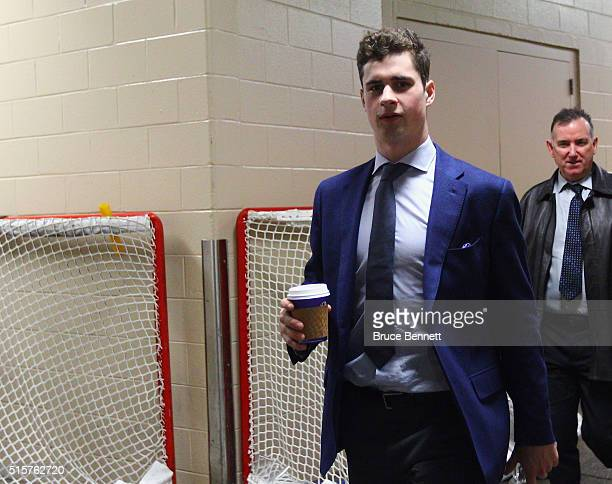 Dylan Larkin of the Detroit Red Wings arrives for the game against the Philadelphia Flyers at the Wells Fargo Center on March 15 2016 in Philadelphia...
